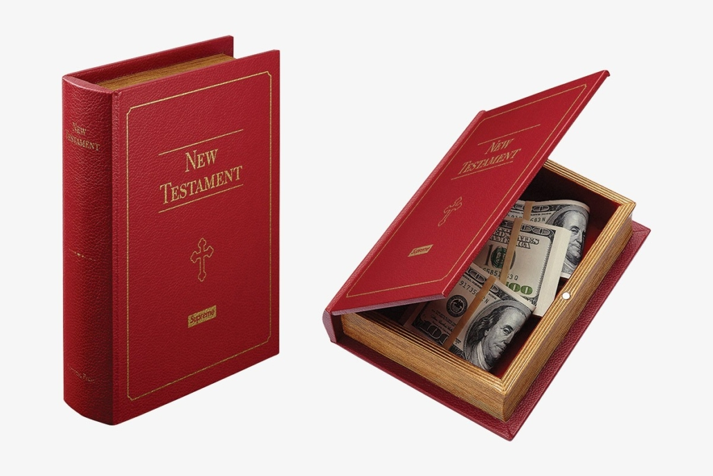 Stash your Supreme accessories within this Bible stash box